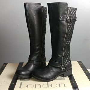 Nine West quilted studded black Moto buckle boots